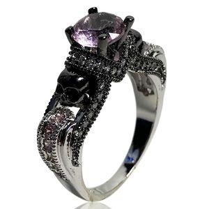 Vintage Gothic Black and Pink Gem Skull Ring